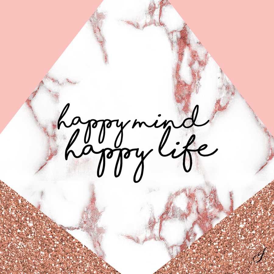 Girls Rose Gold Wallpaper: Happy Mind, Happy Life